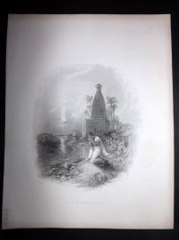 After Melville 1846 Antique Print. The Hindoo Mother, India